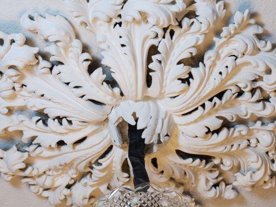 Hand-painted plaster ceiling light rose detail
