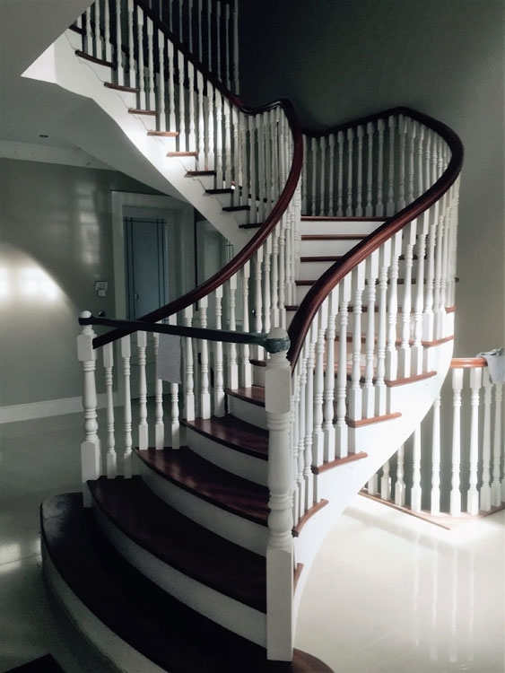 Expertly painted and varnished stairway