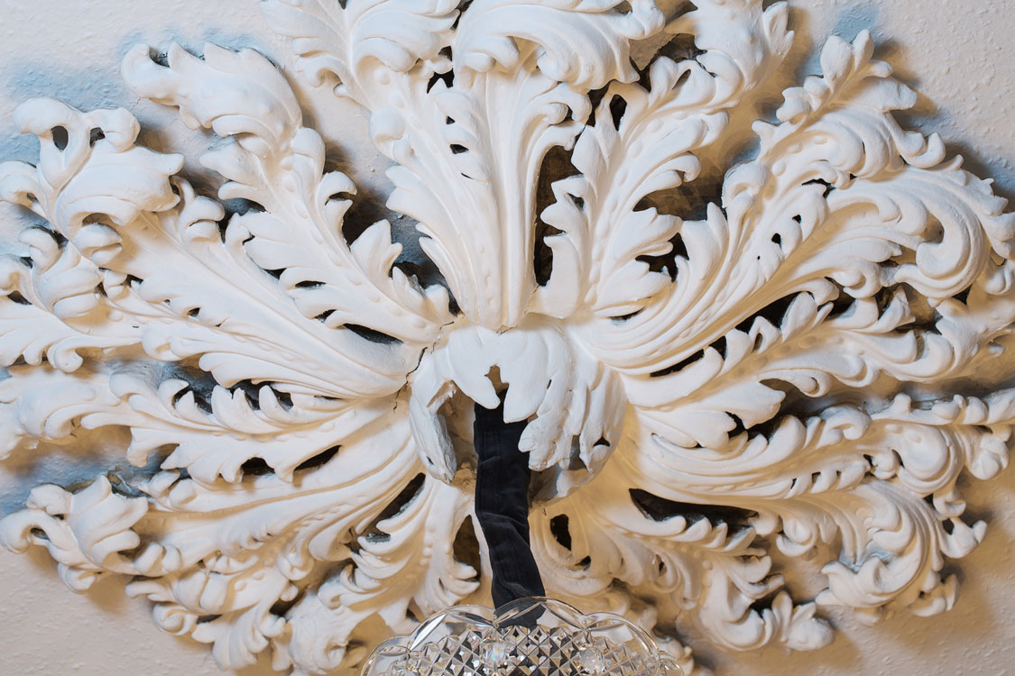 Northumberland Road: close up painting of decorative light ceiling rose