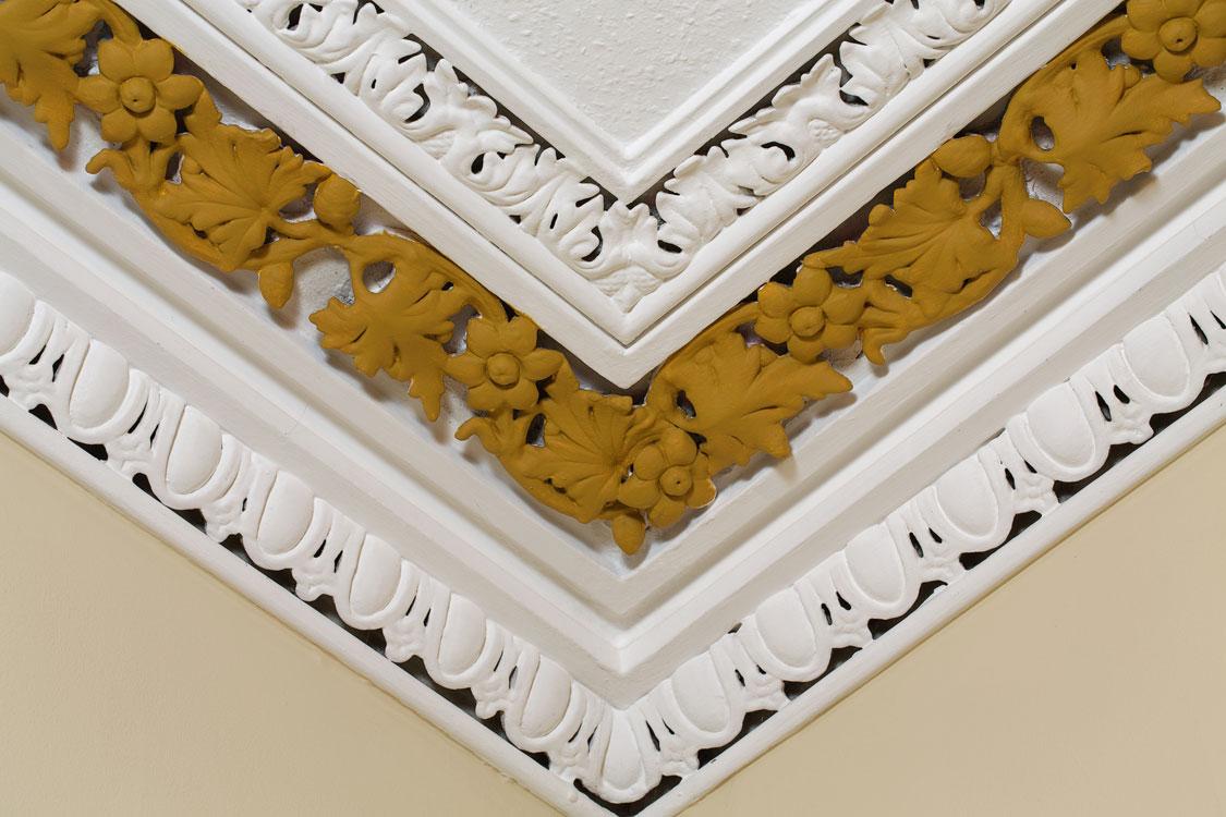 Northumberland Road: close up painting of decorative cornicing
